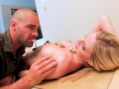 Sweet petite chick Aimee Addison and tasty dick in her pussy