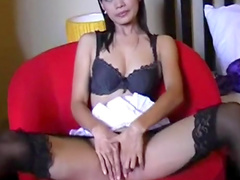 Nice brunette with cute face is fucking in her bedroom