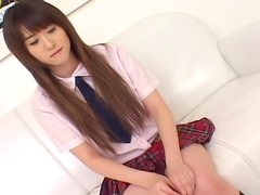 Sensual brunette Shiori is poking her pussy and making a blowjob