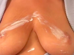 Solo massage of big tits