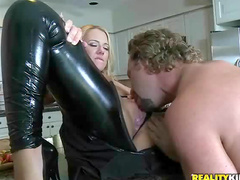 Leather makes milf sexy