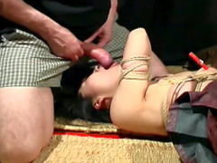 Tight rope bondage on innocent Asian girl