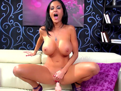 Sweet Ava Addams is masturbating her shaved puss