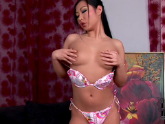Asian Courtney is fingering her pussy