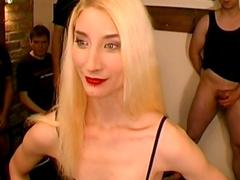 Perverted blonde participates insane bukkake