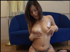 Alluring Asian babe gets load of sperm over her hairs
