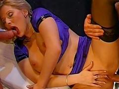 Hardcore threesome for blonde slut with pretty holes
