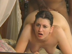 Interracial anal fucking scene with delicious mature brunette