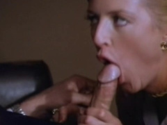 Slender milf blonde gives a very deep blowjob