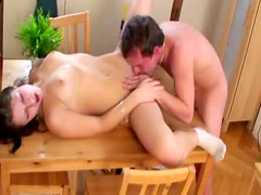 Kitchen table cunt licking