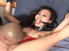 Slender Asian beauty is getting a gag in her mouth