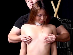 Alluring Japanese girl fucks with hardcore pain