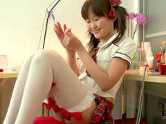 Adorable Asian schoolgirl toy sex