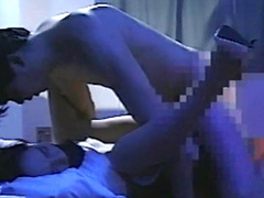 Perverted brunette being impaled in her shaved pussy