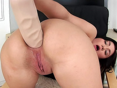 Huge toy fills her tight ass