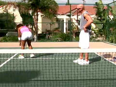 Black chick loves tennis and hard cock