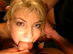 Hot gangbang scene with extremely hungry blonde slut