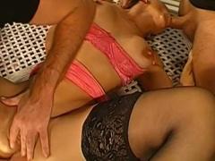 Magdalena is sucking two big hard dicks