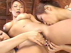 Three sexy beauties are licking each other snatches
