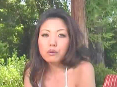 Asian girl in gorgeous outdoor hardcore