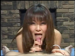 Hot Asian babe swallows tasty cum with smile