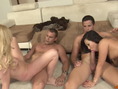 Hardcore foursome sex ends with cumshots