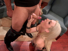 Stunning blonde pornstar gets boned in the office
