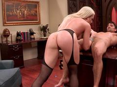 Stunning blonde pornstar gets boned in the office