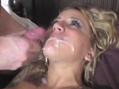 Blonde Regan Reese gets sperm over her lips