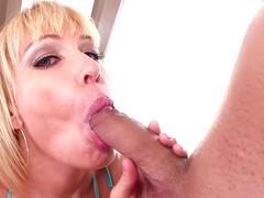 Sensual blonde being drilled by bodybuilder