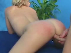 Massage girl spanked and fucked