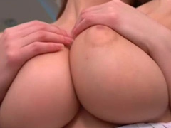 Alli touches her very big natural boobs