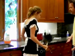 Naughty French maid spanked