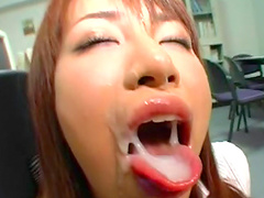 Sensual Asian beauty is getting tasty load in her wide mouth