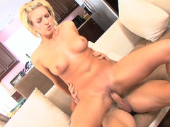 Busty blonde fucks in the reverse cowgirl position
