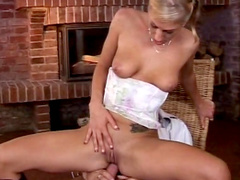 Dionne Darling demonstrates small tits and gets an anal drill