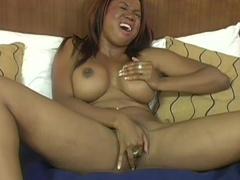 Busty ebony milf Lexi Martinez making a blowjob for her white friend