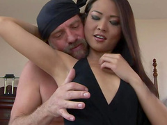 Asian deepthroat blowjob with cock riding