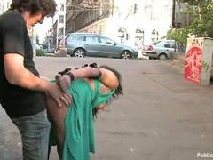 Slut fucked on public street