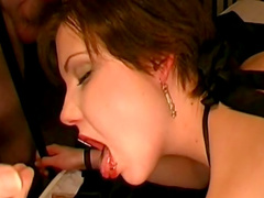 Short haired brunette gives a deepthroat and gets banged