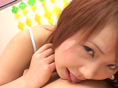 Nasty redhead beauty Ichigo Morino is sucking a dick