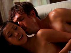 Sharon Lee gives erotic Asian blowjob