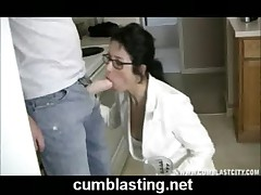 Milf with glasses sucking dick in POV movie