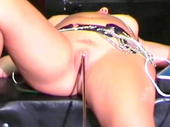 Dungeon girl dildo fucking in bondage