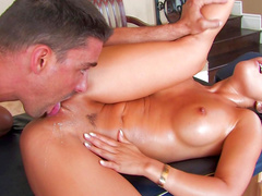 Stunning pornstar Asa Akira makes a blowjob with massage