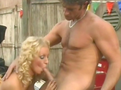Car mechanic fucking busty blonde milf in the garage
