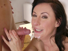 Alluring brunette Lara Latex is banging in her asshole