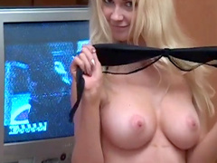 Blonde Erica takes her lingerie off