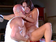 Asa Akira is riding on the Johnny Sins's dick