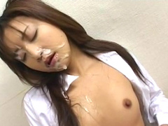 Horny bukkake with innocent Japanese babe